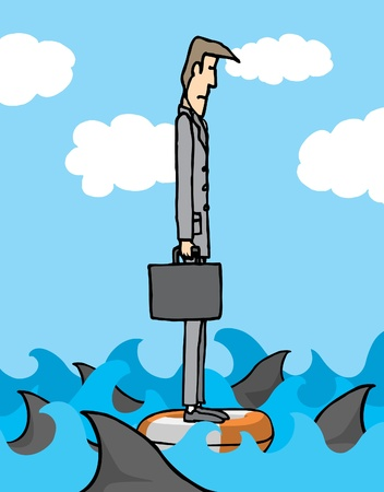 Businessman surrounded by sharks Stock Vector - 19111973