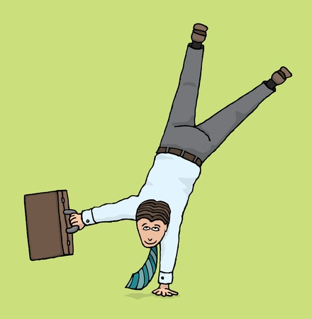flexible business: Agile businessman   Business upside down Illustration