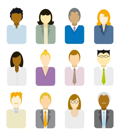 unrecognizable person: Business people icons (multi ethnic)