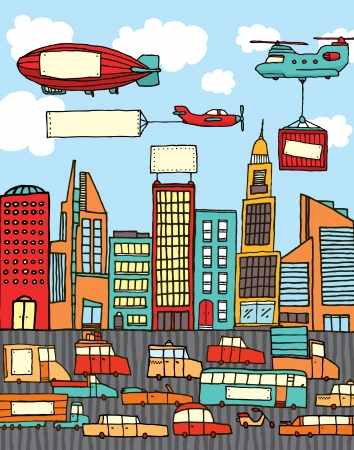 Busy cartoon city