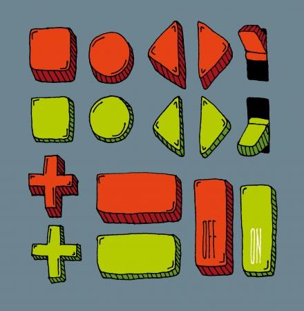 kippschalter: Hand gezeichnet internet button set (Farbe)