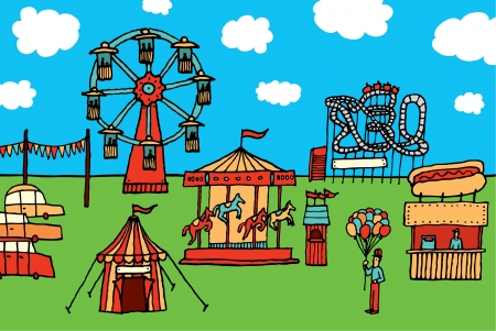 Cartoon Carnival  Amusement park Vector