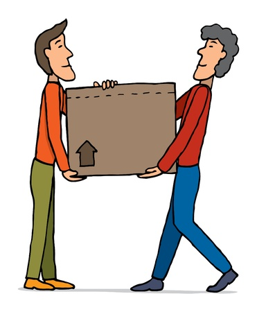 Teamwork moving  Carrying box Vector