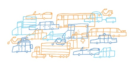 Cartoon car jam / Tough traffic Stock Vector - 19128016