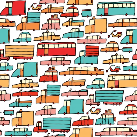 mini bus: Cartoon cars seamless pattern