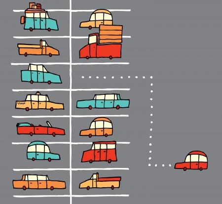 Vector cartoon parking spot Stock Illustratie