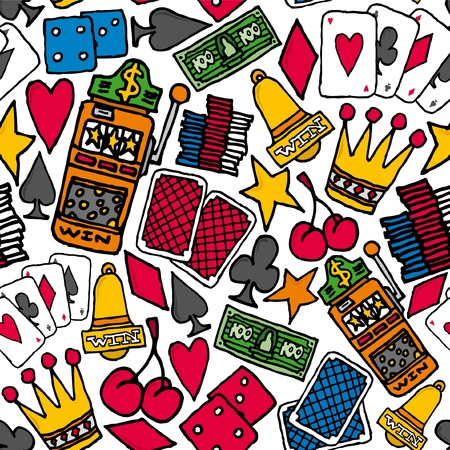 Gambling Seamless pattern  Casino background Vector