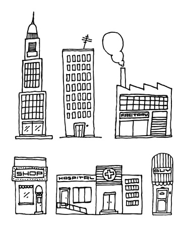 residential district: Vector City Buildings  Ink drawing