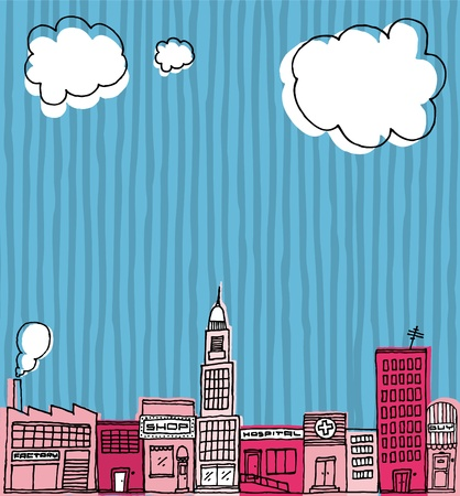Vector Skyline hand drawn / Cartoon city or Neighborhood Stock Vector - 19128249