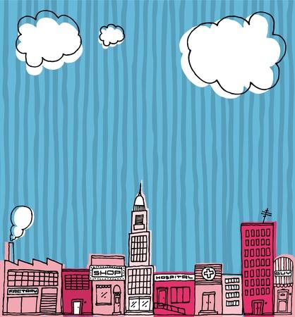 Vector Skyline hand drawn / Cartoon city or Neighborhood Stock Vector - 19128249