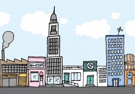 Vector cartoon city / Color Neighborhood Stock Vector - 19128234
