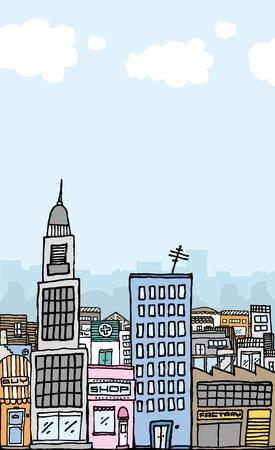 Vector cartoon city with copyspace Vector