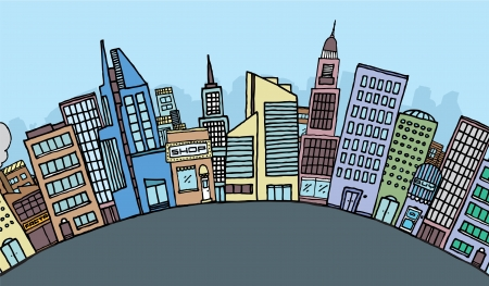 residential district: Huge cartoon city skyline
