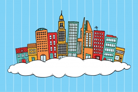 tranquil scene on urban scene: City in the clouds