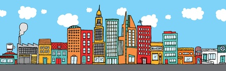 Colorful city skyline Illustration