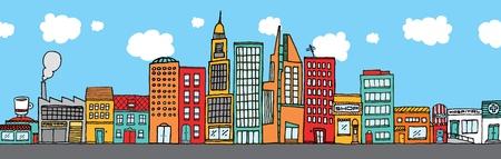 Colorful city skyline Stock Illustratie