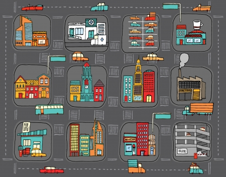 Colorful cartoon city map Stock Illustratie