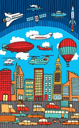childishness: Busy city  Metropolis Illustration