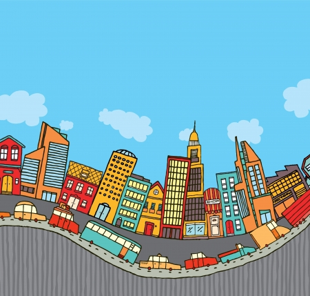 Funny cartoon city with copyspace Vector