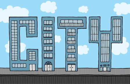 Buildings forming city Stock Vector - 19128418