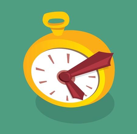 second hand: Cartoon golden clock