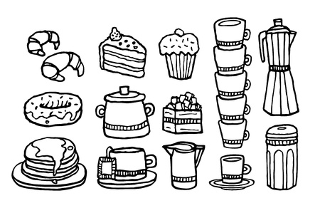 Coffee and sweet food  Handwritten cafe stuff set Vector