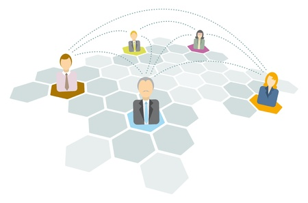 Business people connecting  Networking icons Vector