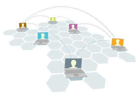 unrecognizable person: Computer and people network  Multiple users Illustration