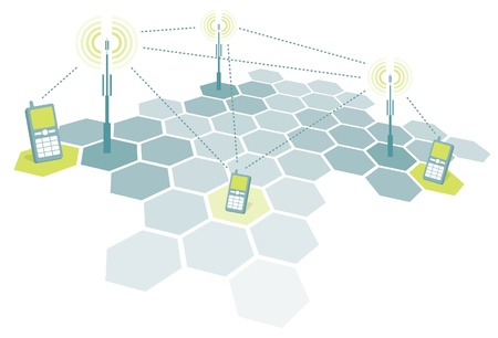 Connecting mobile phones / Telecomm Illustration
