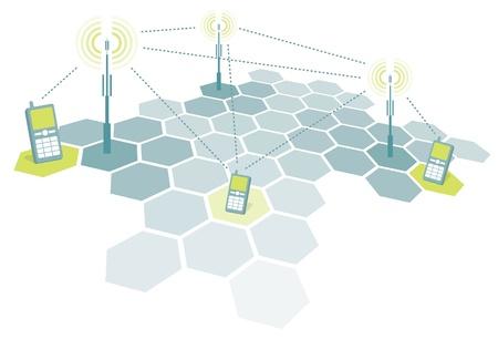 microwave antenna: Conexi�n de los tel�fonos m�viles  Telecomunicaciones Vectores