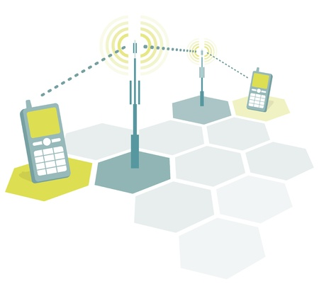 microwave antenna: Mobile phones connecting 2 Illustration