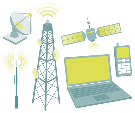 Telecommunication equipment icon set Vector