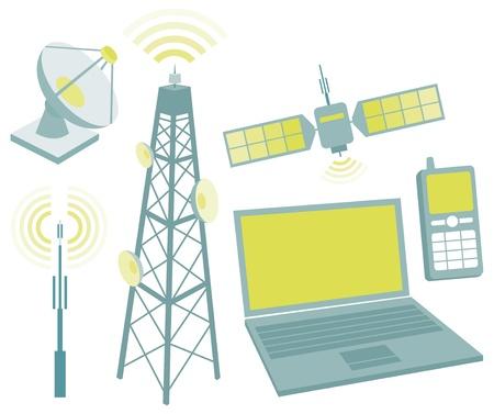 microwave antenna: Telecomunicaciones icono conjunto de equipos Vectores