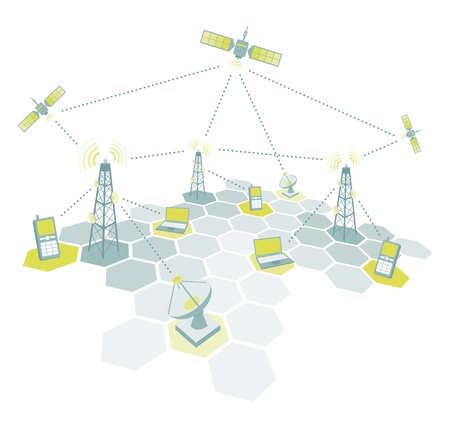Telecom working diagram Vector