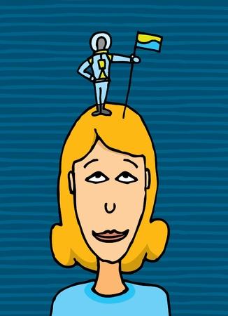 Astronauta Piccoli sostenendo conquistare una donna