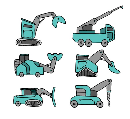 Cartoon construction vehicle set Vector