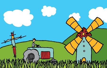 Cartoon country field Stock Vector - 19128467