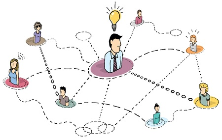 Creative thinking teamwork  Idea process or brainstorming Vector