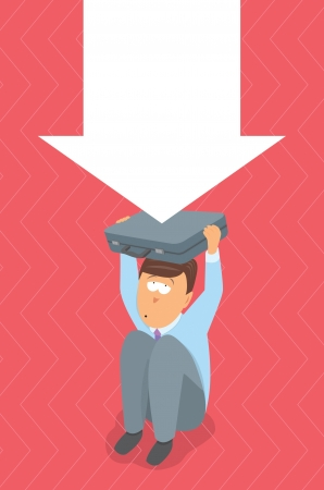 economic depression: Businessman in trouble  Crisis pressure Illustration