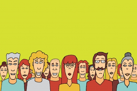 congregation: Crowd with copyspace  Happy people together Illustration