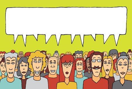 medium group of people: Crowd speaking together Illustration