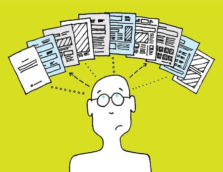 User managing documents Stock Vector - 19128217