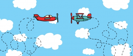 Aerial Dogfight   Cartoon planes in battle Stock Vector - 19128018