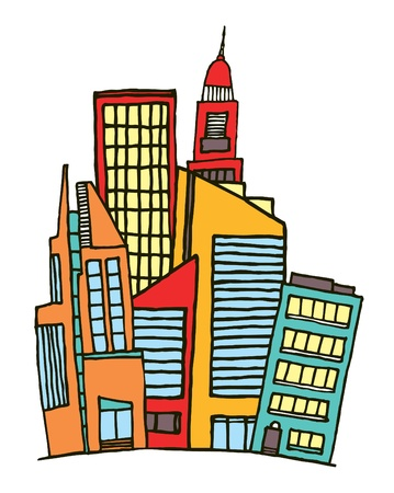 Colorful downtown   Vector city Stock Vector - 19128167