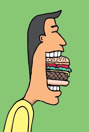 chewing: Cartoon man eating huge hamburguer