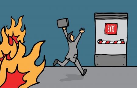 emergency exit: Businessman heading for emergency exit Illustration