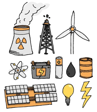 power generation: Energy vector icon set  Alternative power generation Illustration