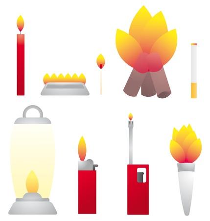 Set of fire objects  Heat Vector