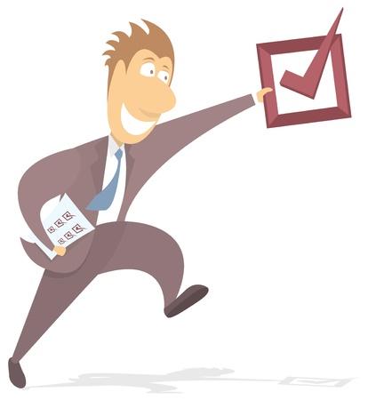 tickbox: Businessman reaching objective