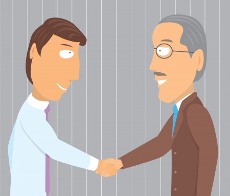 employment issues: Handshake young and old businessman